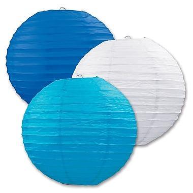 Assorted Blue, White and Turquoise Paper Lanterns, 9 1/2