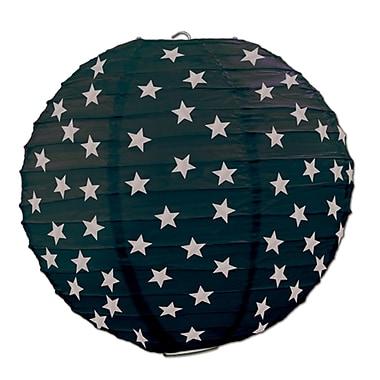 Lanternes de papier étoiles, 9 1/2 po, noir/argenté, paquet de 6