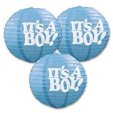 « It's A Boy! » bleu pâle Lanternes en papier, 9 1/2 po, 6/paquet