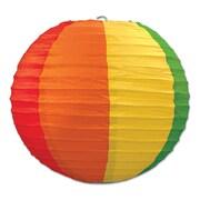 "Beistle 9 1/2"" Rainbow Paper Lantern, 6/Pack"