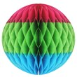 """Beistle 12"""" Tri-Color Tissue Ball, Cerise/Light Green/Turquoise, 3/Pack"""