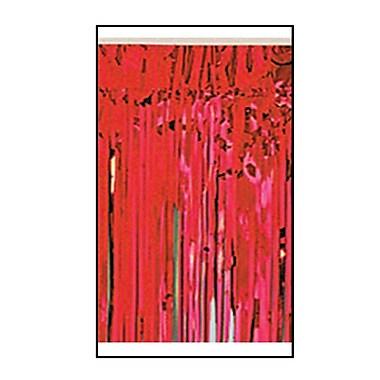 Draperie à franges métallisées 1 épaisseur ignifuge, 15 po x 10 pi, rouge, 2/paquet