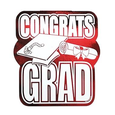 Découpe « Congrats Grad » en aluminium, 13 po, rouge, 5 par paquet
