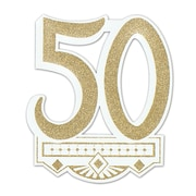 """Beistle 14"""" 50th Anniversary Crest, Gold, 5/Pack"""