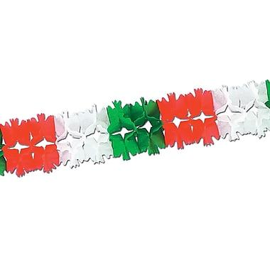 Guirlande de cortège, 7 po x 14 pi 6 po, rouge/blanc/vert, 2/paquet