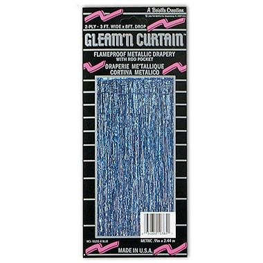 2-Ply Flame Resistant Gleam 'N Curtain, 8' x 3', Blue