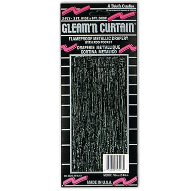 2-Ply Flame Resistant Gleam 'N Curtain, 8' x 3', Black
