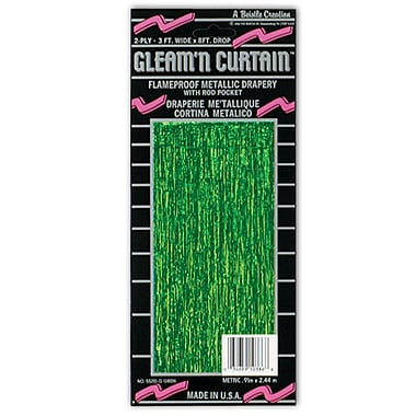2-Ply Flame Resistant Gleam 'N Curtain, 8' x 3', Green