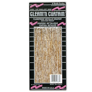 2-Ply Flame Resistant Gleam 'N Curtain, 8' x 3', Gold