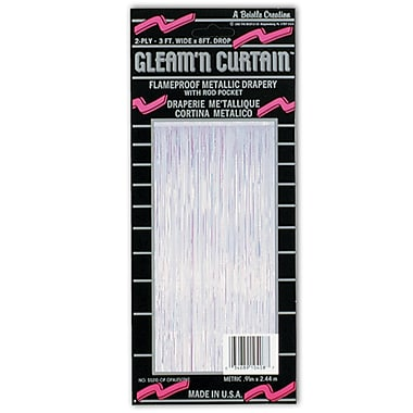 2-Ply Flame Resistant Gleam 'N Curtain, 8' x 3', Opalescent
