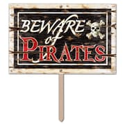 "3-Dimensional Plastic Beware Of Pirates Yard Sign, 12"" x 18"", 2/Pack"