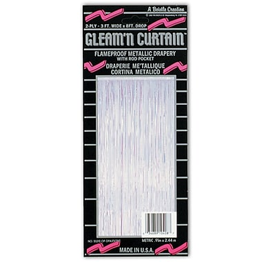 1-Ply Flame Resistant Gleam 'N Curtain, 8' x 3', Opalescent