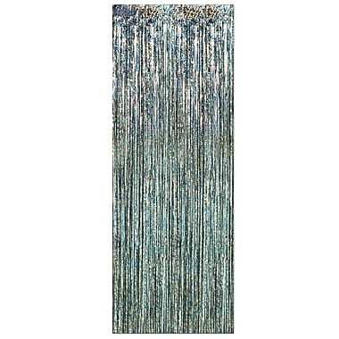 Beistle 8' x 3' 1-Ply Flame Resistant Gleam 'N Curtain, Prismatic Silver