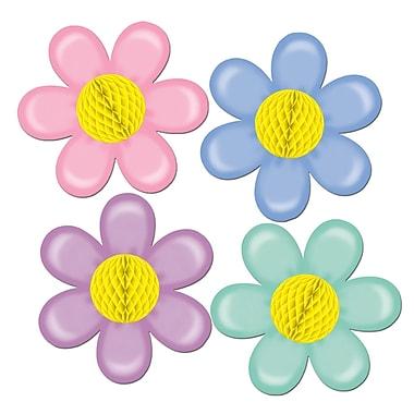 Fleurs pastel avec centre de papier, 14 po, 4/paquet