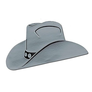 Silhouette de chapeau de cowboy en aluminium, 19 po, argenté, 5/paquet