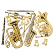 Beistle 17in. - 23 1/2in. Musical Instrument Cutouts, Gold, 30/Pack