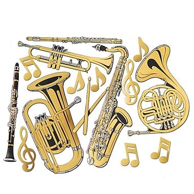 Découpes en aluminium en forme d'instrument de musique, 17 po à 23 1/2 po, doré, 30/paquet