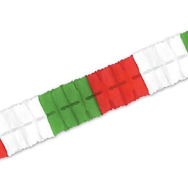 Guirlande de feuilles, 4 1/2 po x 12 pi, rouge/blanc/vert, 4/paquet