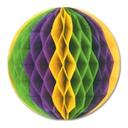 "Beistle 12"" Tissue Ball, Golden-Yellow/Green/Purple, 4/Pack"