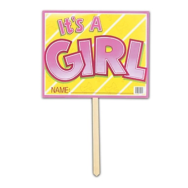 Pink It's A Girl Yard Sign, 12
