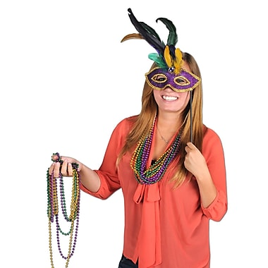 Feathered Mask With Stick With Gem Stone & Feathers, One Size Fits Most, Purple, 2/Pack