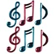 """Beistle 4 1/4"""" - 5 1/2"""" Molded Plastic Musical Notes, Cerise/Turquoise"""