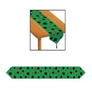 "Beistle 11"" x 6' Printed Casino Table Runner, Green, 4/Pack"