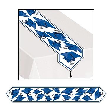 Chemin de table orné de motifs de mortiers, 11 po x 6 pi, bleu, paquet de 4
