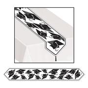 """Beistle 11"""" x 6' Printed Grad Cap Table Runner, Black, 4/Pack"""