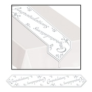 """Beistle 11"""" x 6' Printed Congratulations Table Runner, White/Silver, 4/Pack"""