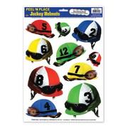 "Beistle 12"" x 17"" Jockey Helmets Peel 'N Place Sticker, Assorted, 30/Pack"
