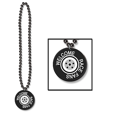 Beistle Beads Necklace With Printed Welcome Race Fans Medal, 33