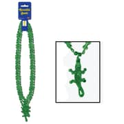 "Beistle Crocodile Beads Necklace, 33"", Green"