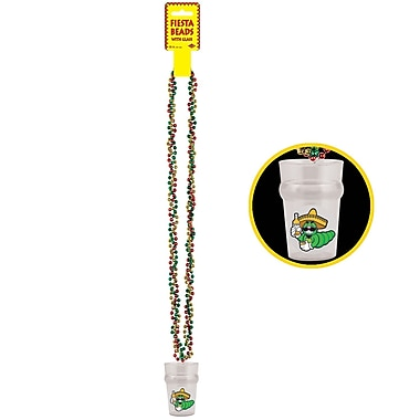 Beistle Braided Beads Necklace With Fiesta Glass, 36