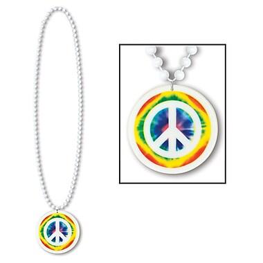 Médaillon avec signe de paix sur collier de perles, 36 po, 5/paquet