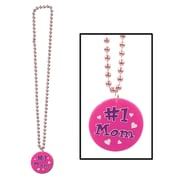 """Beads With Printed #1 Mom Medallion, 33"""", 6/Pack"""