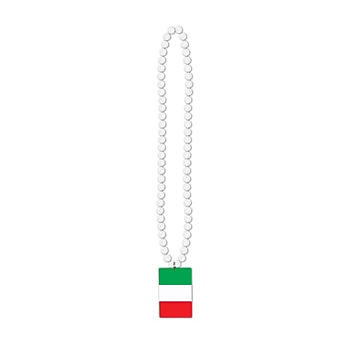 Beistle Beads Necklace With Printed Italian Flag Medallion, 36