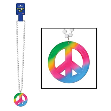 Tie-Dyed Peace Sign Medallion On Bead, 36