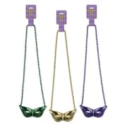 "Beistle Beads Necklace With Mask Medallion, 36"", Green/Gold/Purple"