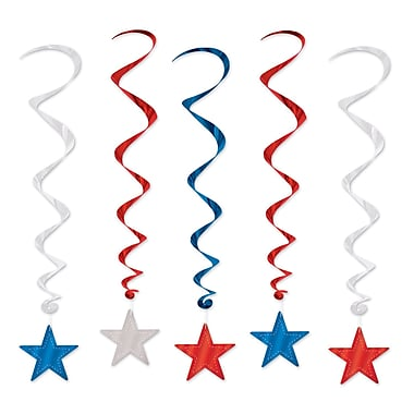 Beistle 3' Star Whirls, Red/Silver/Blue, 15/Pack