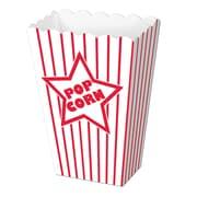 "Beistle 2"" x 3 3/4"" x 5 1/4"" Paper Popcorn Box, Red/White, 40/Pack"