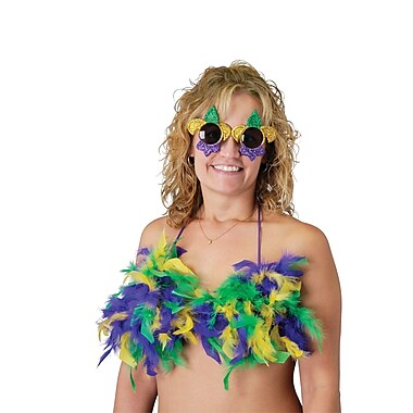 Mardi Gras Feathered Bikini Top, Adjustable, 3/Pack