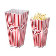 Beistle 2 x 3 3/4 x 7 3/4 Plastic Popcorn Box, Red/White, 4/Pack