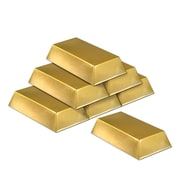 """Beistle 7"""" x 4"""" x 1 1/2"""" Plastic Bar Decorations, Gold, 12/Pack"""