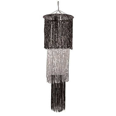Beistle 4' 3-Tier Shimmer Chandelier, Black/Silver