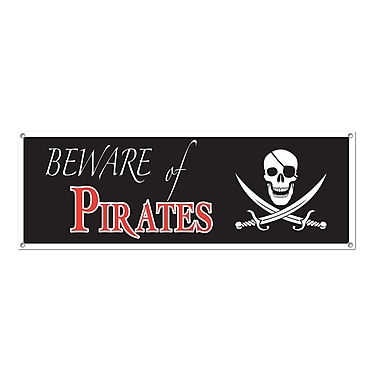 Beware Pirates Sign Banner, 5' x 21