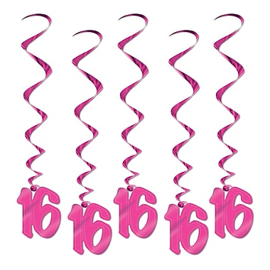 Beistle 3' 16 Whirls, Pink, 15/Pack