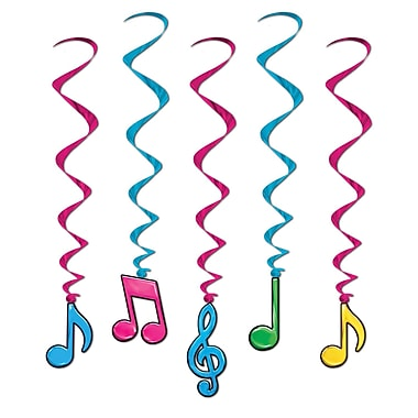 Beistle 3' Neon Musical Note Whirls, Assorted, 15/Pack