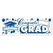 "Beistle 5' x 21"" Congrats Grad Sign Banner, Blue/White, 3/Pack"
