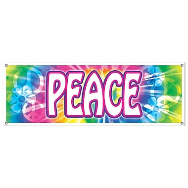 Rainbow Peace Sign Banner, 5' x 21